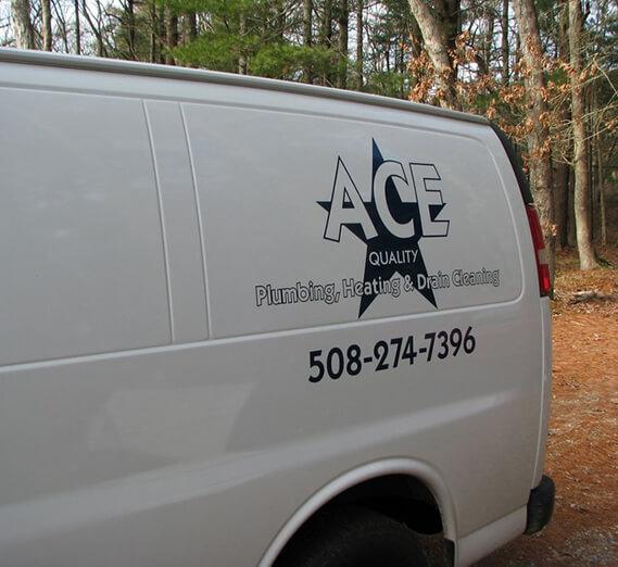 ace quality plumbing white company van