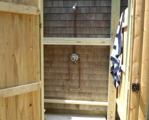 outdoor shower install cape cod